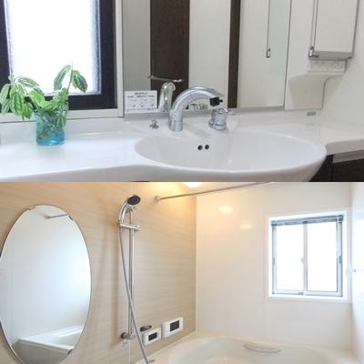 洗面台と浴室の鏡